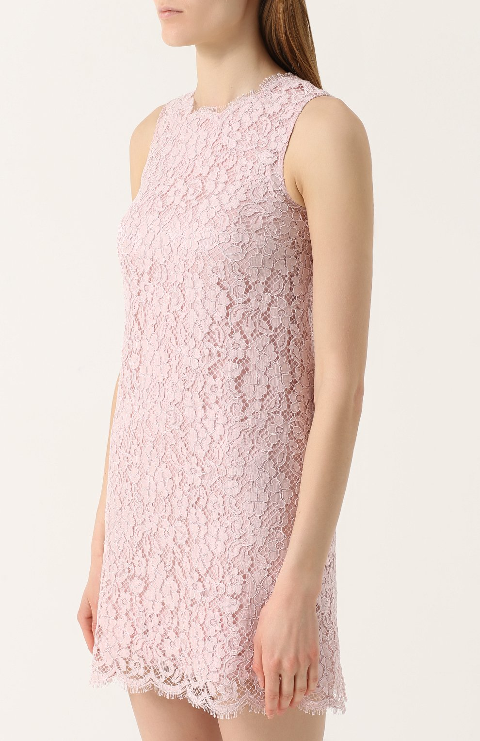 Кружевное мини-платье без рукавов Dolce & Gabbana розовое | Фото №4