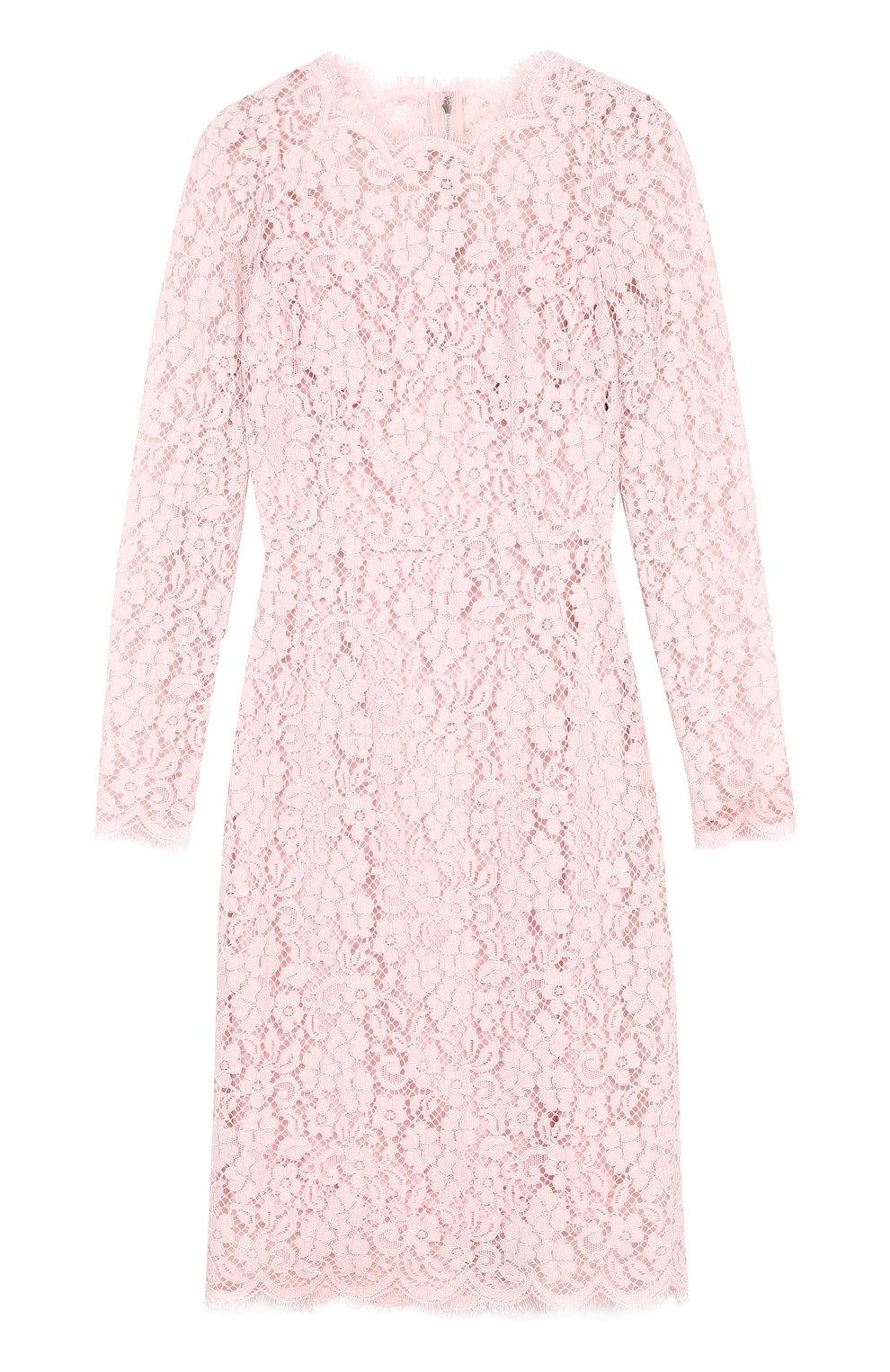 Кружевное платье-футляр с длинным рукавом   Фото №1