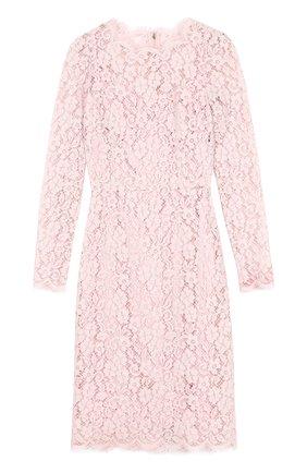 Кружевное платье-футляр с длинным рукавом Dolce & Gabbana светло-розовое   Фото №1