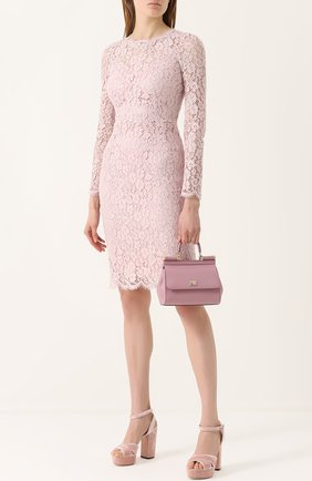 Кружевное платье-футляр с длинным рукавом Dolce & Gabbana светло-розовое   Фото №2