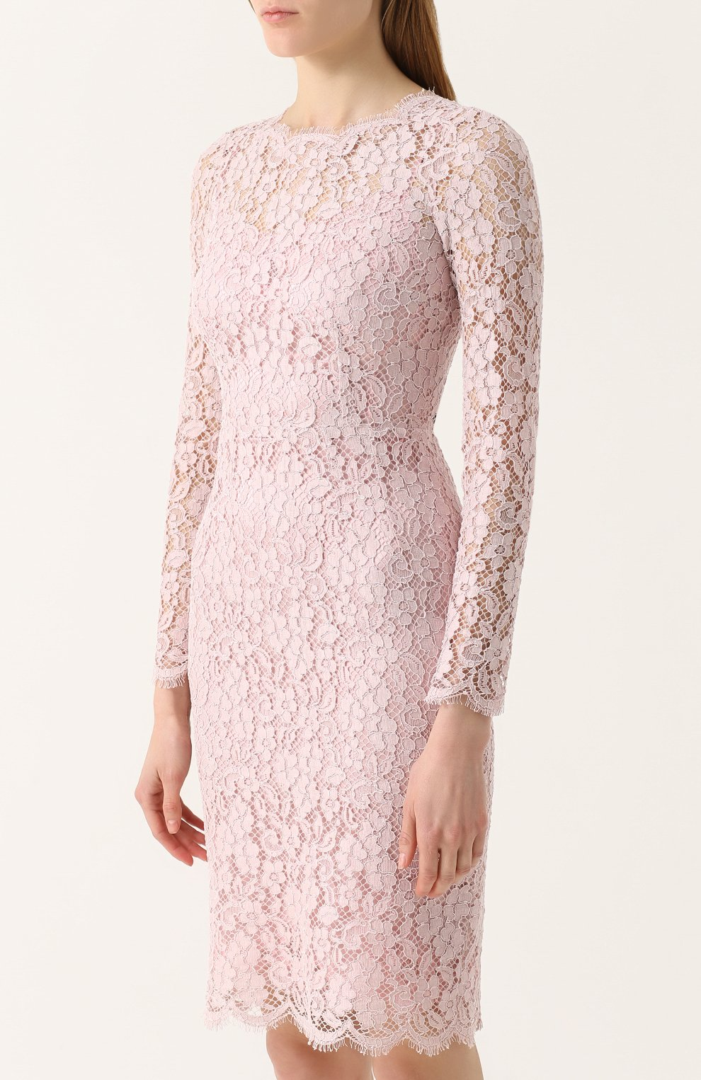 Кружевное платье-футляр с длинным рукавом Dolce & Gabbana светло-розовое   Фото №3