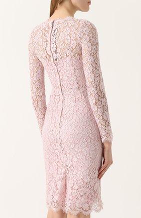 Кружевное платье-футляр с длинным рукавом Dolce & Gabbana светло-розовое   Фото №4
