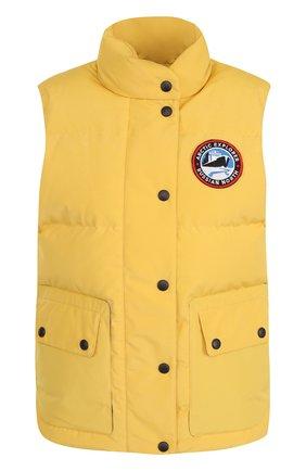 Пуховой стеганый жилет с логотипом бренда Arctic Explorer желтый | Фото №1