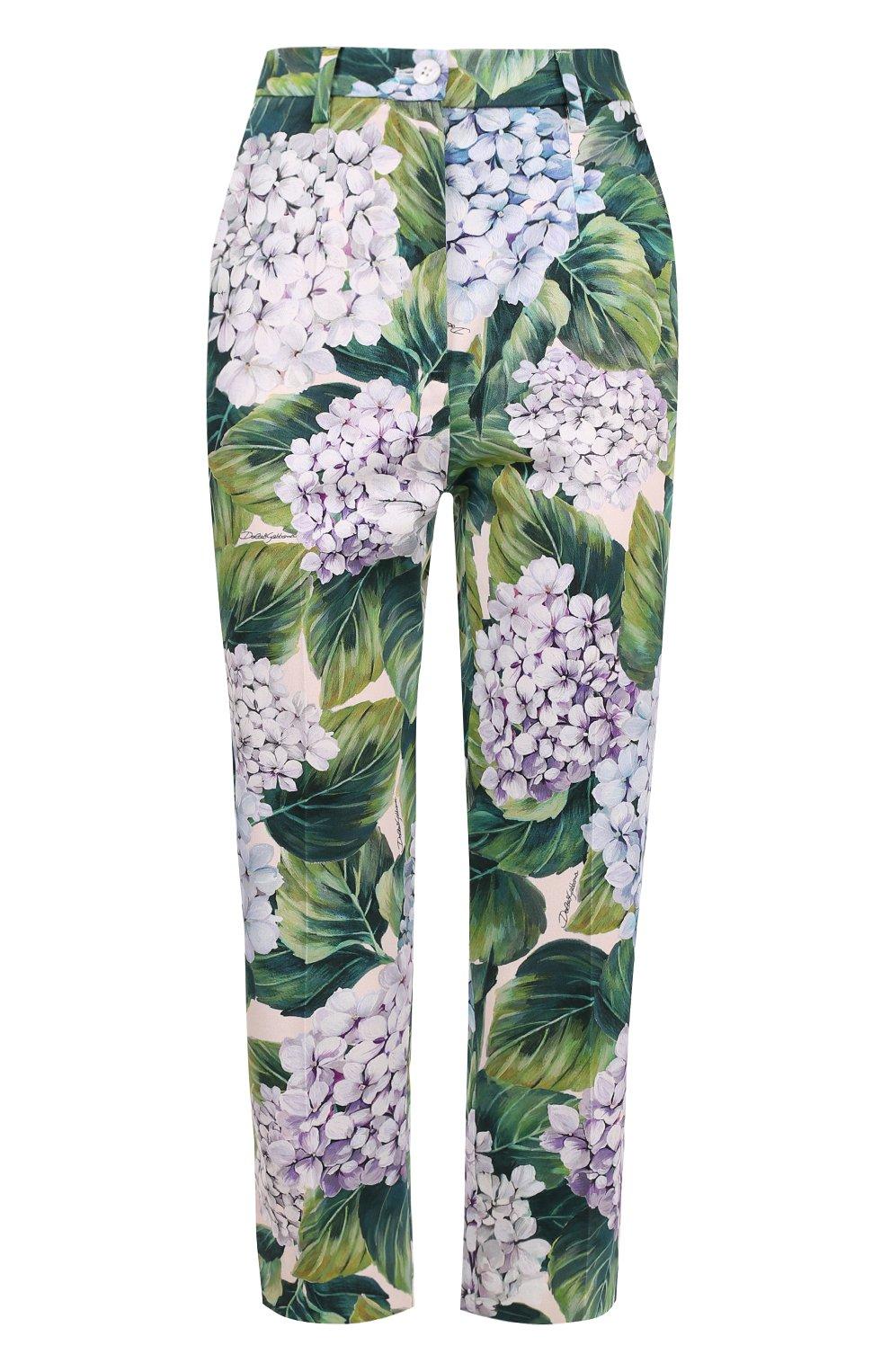 Укороченные брюки прямого кроя с цветочным принтом   Фото №1