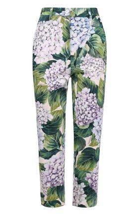 Укороченные брюки прямого кроя с цветочным принтом Dolce & Gabbana зеленые   Фото №1