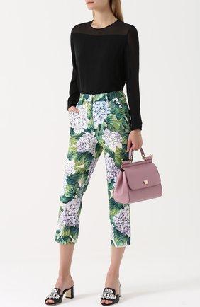 Укороченные брюки прямого кроя с цветочным принтом Dolce & Gabbana зеленые   Фото №2