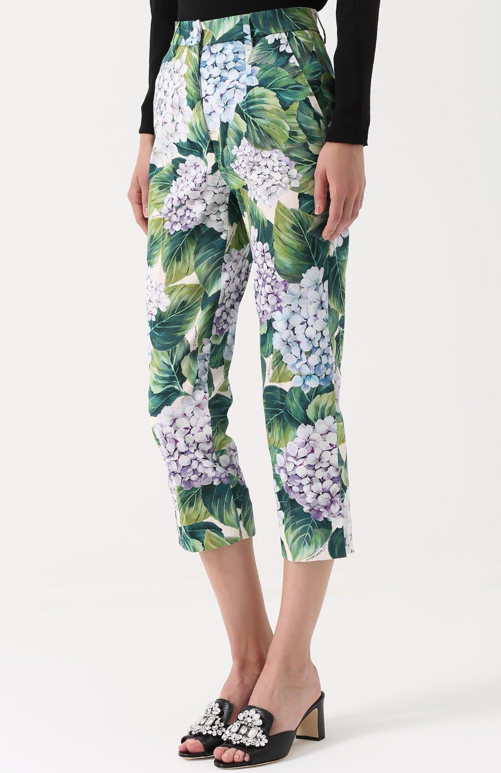 Укороченные брюки прямого кроя с цветочным принтом Dolce & Gabbana зеленые   Фото №3