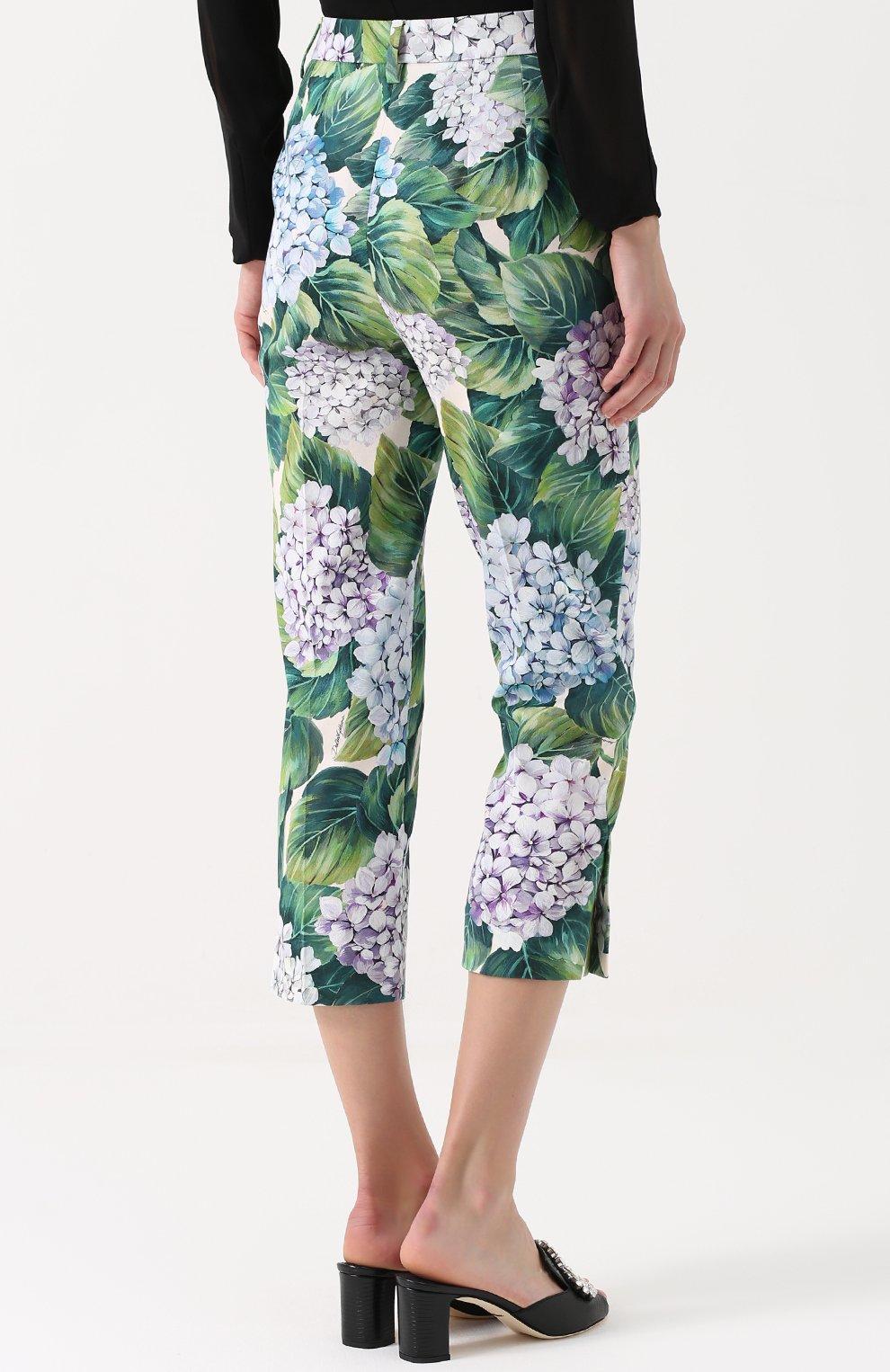 Укороченные брюки прямого кроя с цветочным принтом Dolce & Gabbana зеленые   Фото №4