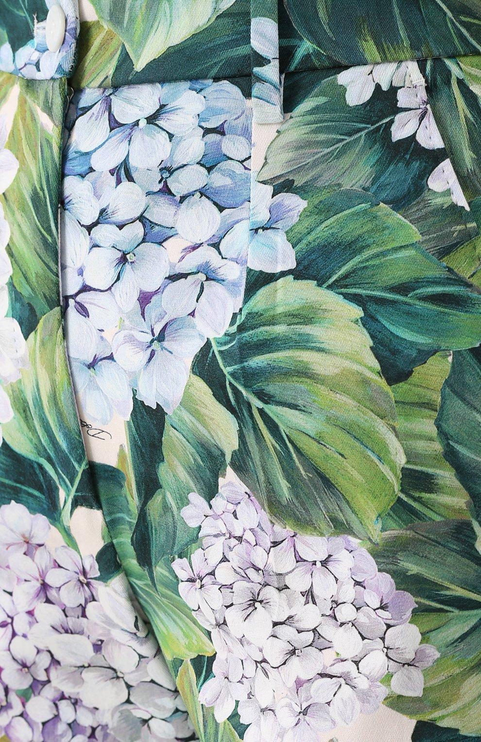 Укороченные брюки прямого кроя с цветочным принтом Dolce & Gabbana зеленые   Фото №5