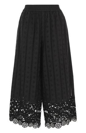Укороченные широкие брюки с кружевной отделкой | Фото №1