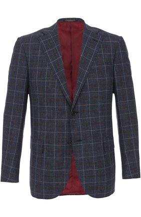 Однобортный пиджак из смеси шерсти и  шелка со льном