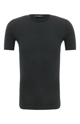 Мужская хлопковая футболка DOLCE & GABBANA зеленого цвета, арт. 0101/G8HI7T/FU7EQ | Фото 1 (Длина (для топов): Стандартные; Рукава: Короткие; Материал внешний: Хлопок; Принт: Без принта; Стили: Кэжуэл)