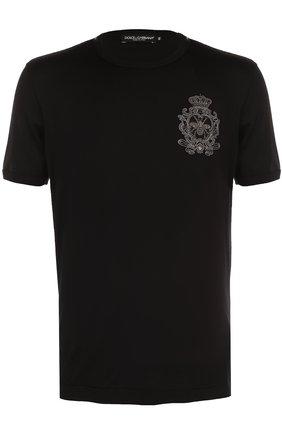 Хлопковая футболка с вышивкой Dolce & Gabbana черная | Фото №1