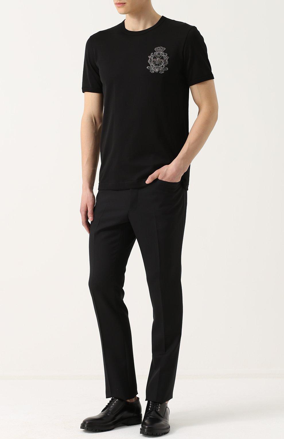 Хлопковая футболка с вышивкой Dolce & Gabbana черная | Фото №2