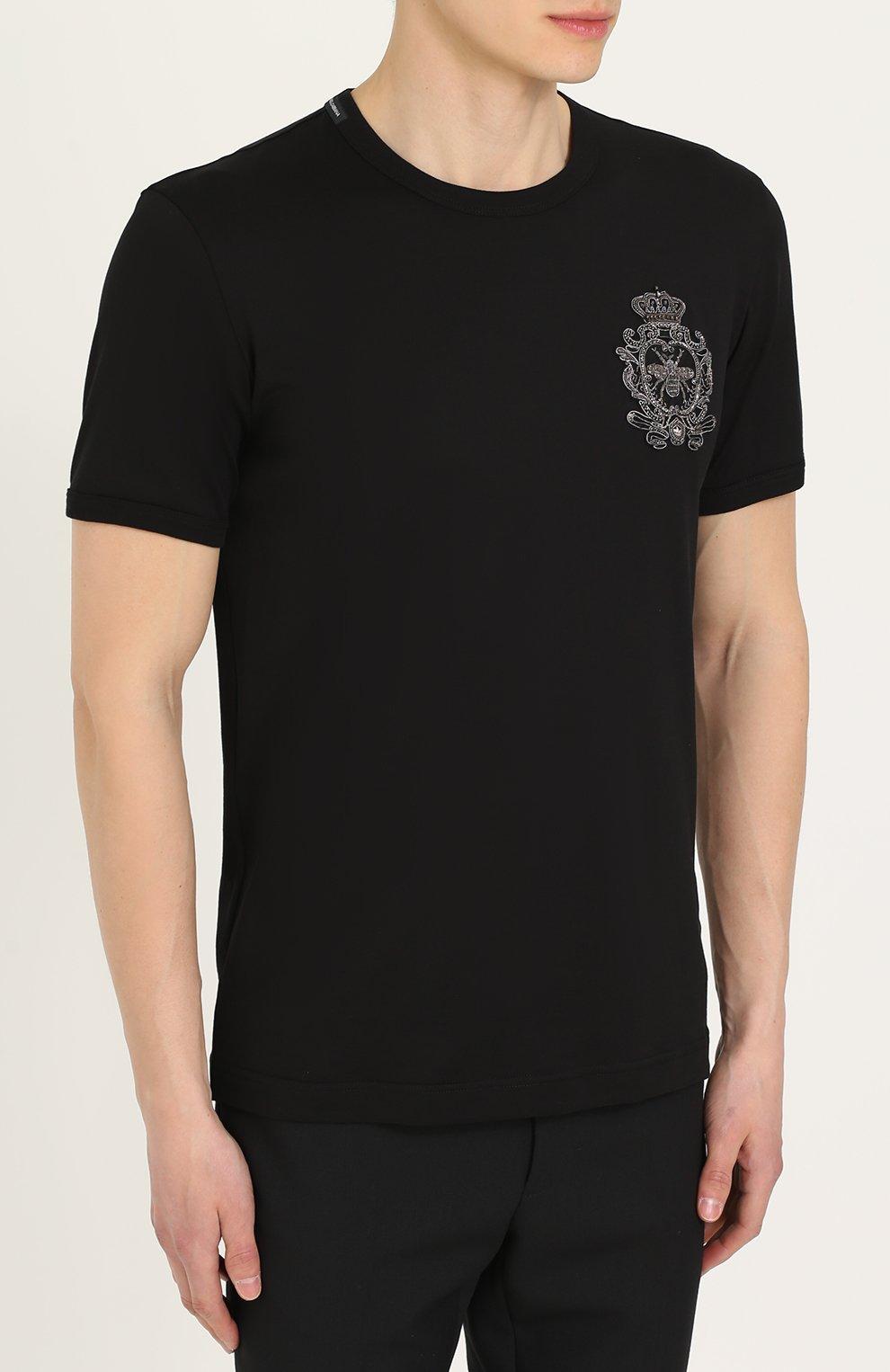 Хлопковая футболка с вышивкой Dolce & Gabbana черная | Фото №3