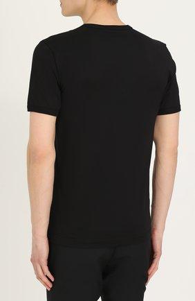 Хлопковая футболка с вышивкой Dolce & Gabbana черная | Фото №4