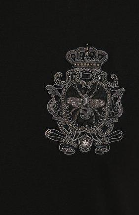 Хлопковая футболка с вышивкой Dolce & Gabbana черная | Фото №5