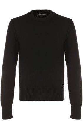 Шерстяной однотонный джемпер Dolce & Gabbana черный   Фото №1