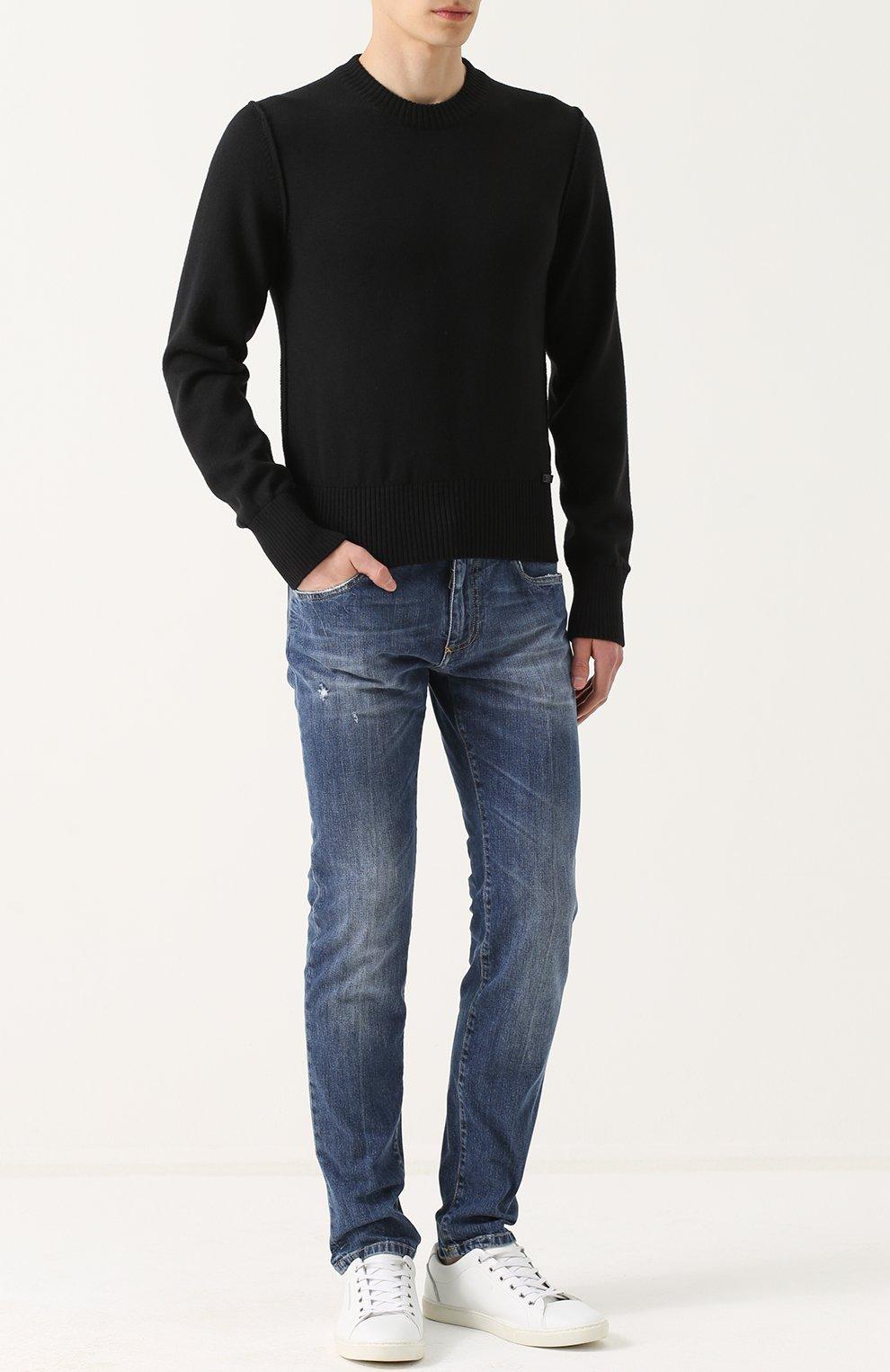 Шерстяной однотонный джемпер Dolce & Gabbana черный   Фото №2