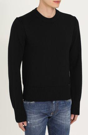 Шерстяной однотонный джемпер Dolce & Gabbana черный   Фото №3