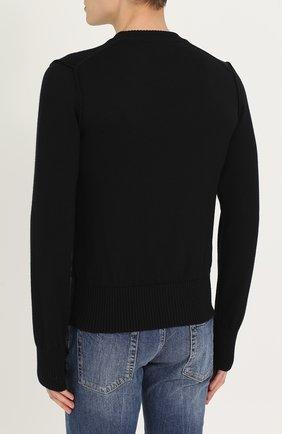 Шерстяной однотонный джемпер Dolce & Gabbana черный   Фото №4