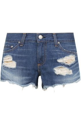 Джинсовые мини-шорты с потертостями Rag&Bone синие | Фото №1