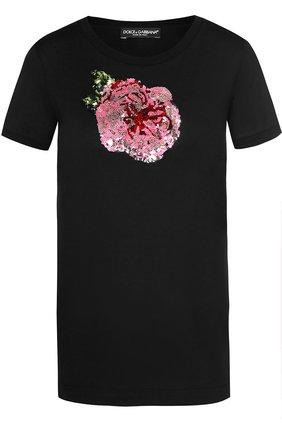 Приталенная футболка с контрастной вышивкой пайетками Dolce & Gabbana черная | Фото №1