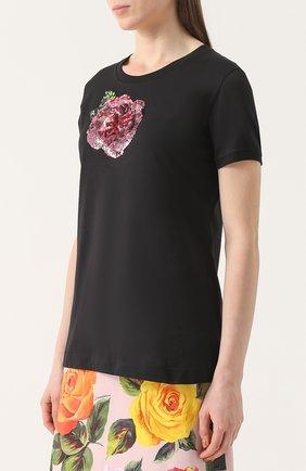 Приталенная футболка с контрастной вышивкой пайетками Dolce & Gabbana черная | Фото №3