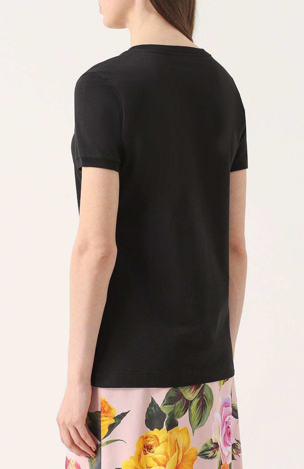 Приталенная футболка с контрастной вышивкой пайетками Dolce & Gabbana черная | Фото №4