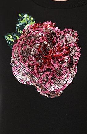 Приталенная футболка с контрастной вышивкой пайетками Dolce & Gabbana черная | Фото №5