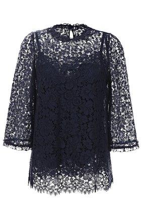 Кружевной топ прямого кроя с укороченным рукавом Dolce & Gabbana темно-синий | Фото №1