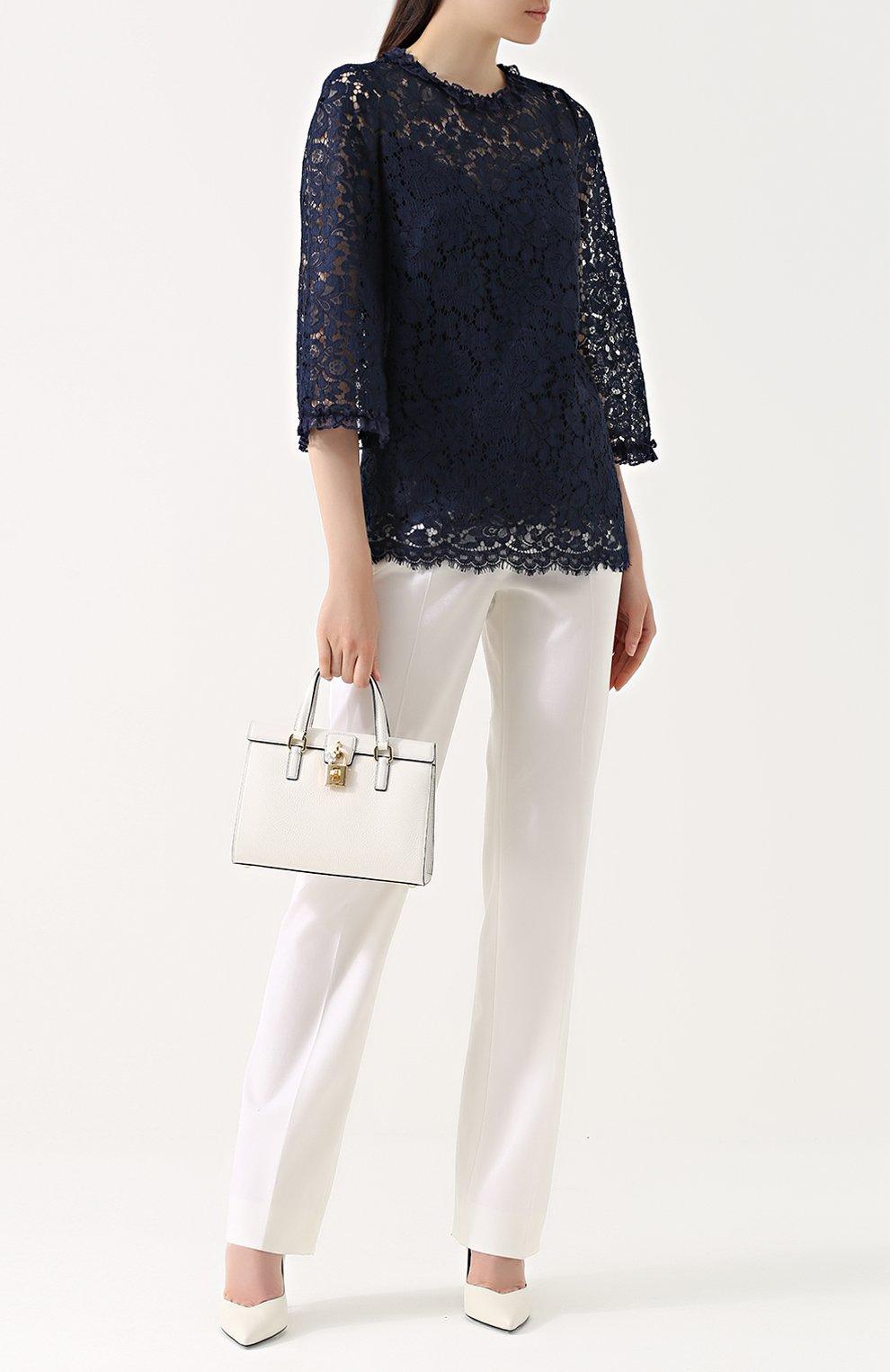 Кружевной топ прямого кроя с укороченным рукавом Dolce & Gabbana темно-синий | Фото №2