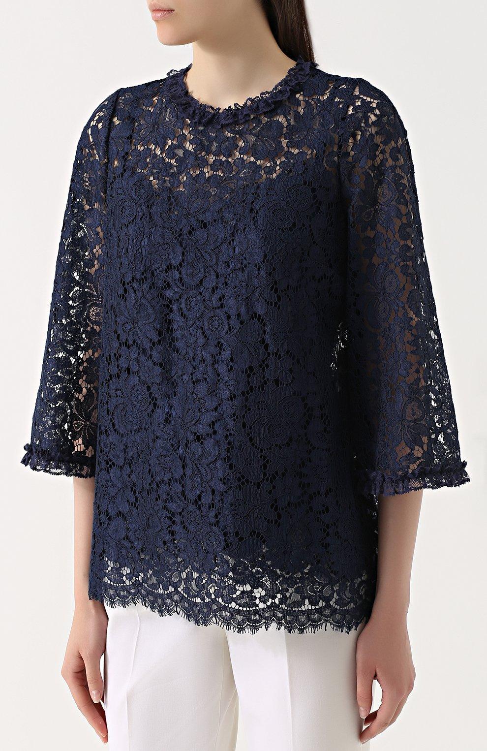 Кружевной топ прямого кроя с укороченным рукавом Dolce & Gabbana темно-синий | Фото №3