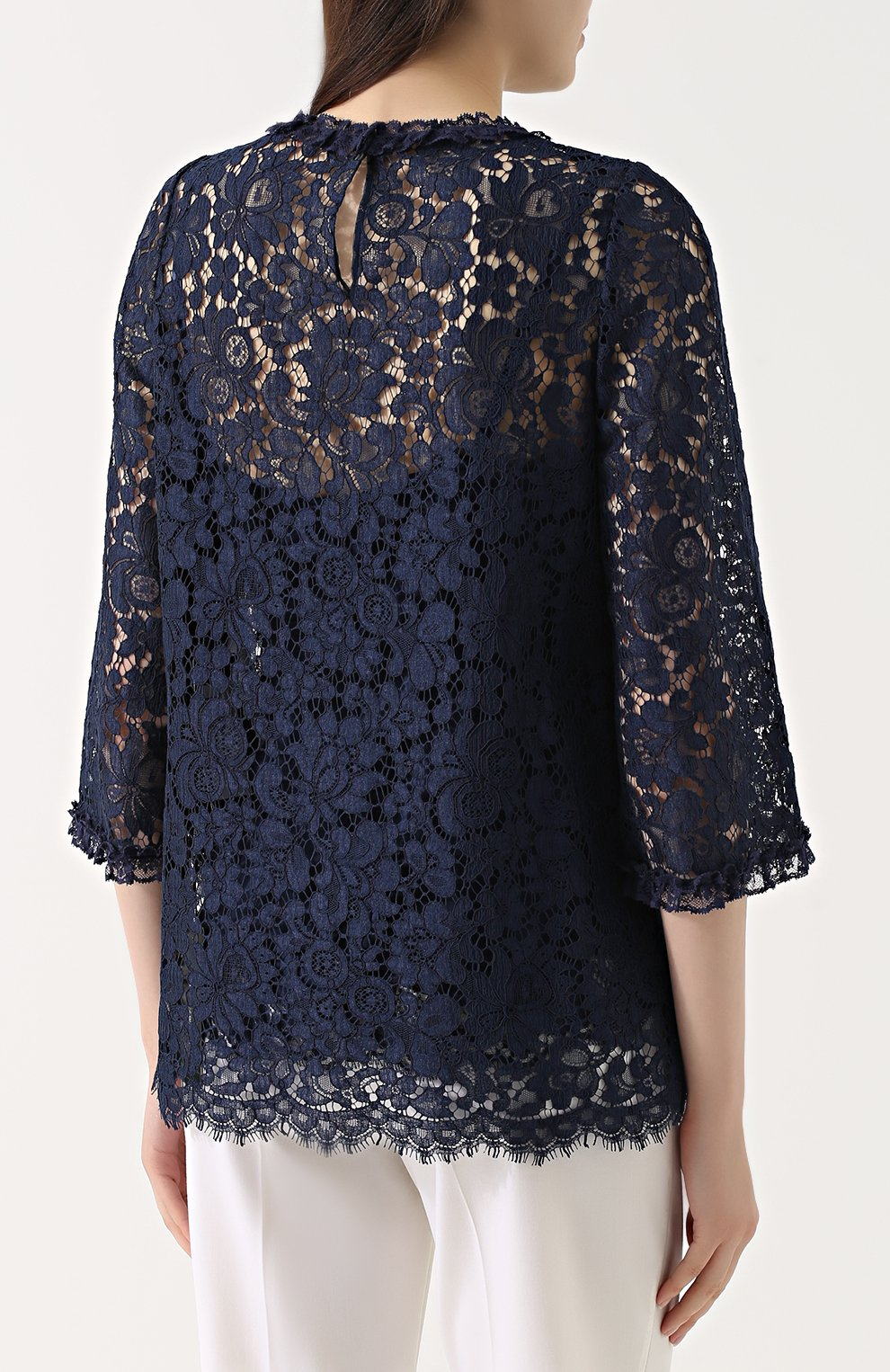 Кружевной топ прямого кроя с укороченным рукавом Dolce & Gabbana темно-синий | Фото №4