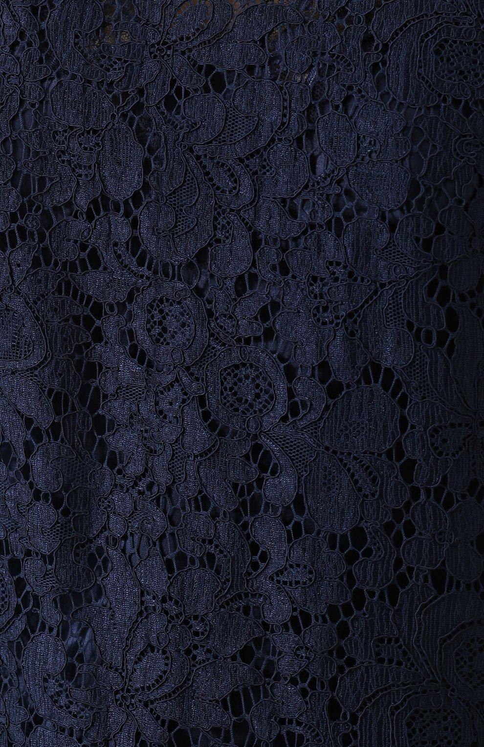 Кружевной топ прямого кроя с укороченным рукавом Dolce & Gabbana темно-синий | Фото №5