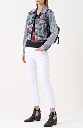 Укороченные джинсы прямого кроя Current/Elliott белые   Фото №1
