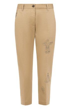 Укороченные брюки со стрелками и принтом Nine in the morning бежевые | Фото №1