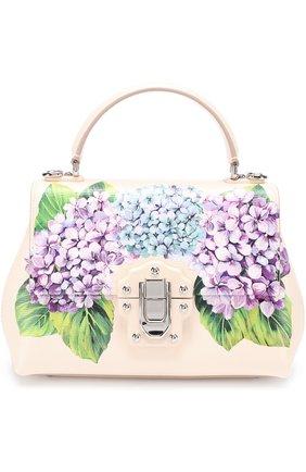 Сумка Lucia medium с принтом Dolce & Gabbana кремовая цвета   Фото №1
