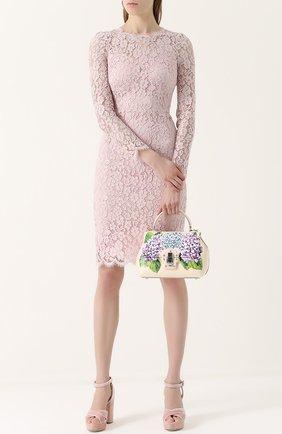 Сумка Lucia medium с принтом Dolce & Gabbana кремовая цвета   Фото №2