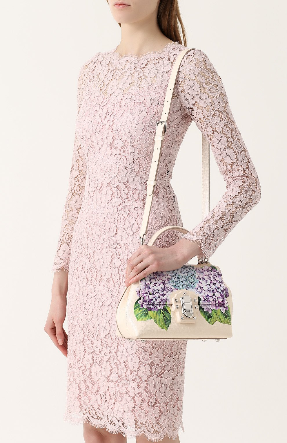 Сумка Lucia medium с принтом Dolce & Gabbana кремовая цвета   Фото №5
