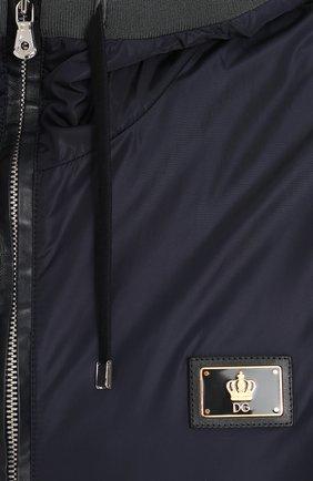 Бомбер на молнии с капюшоном Dolce & Gabbana синяя | Фото №5