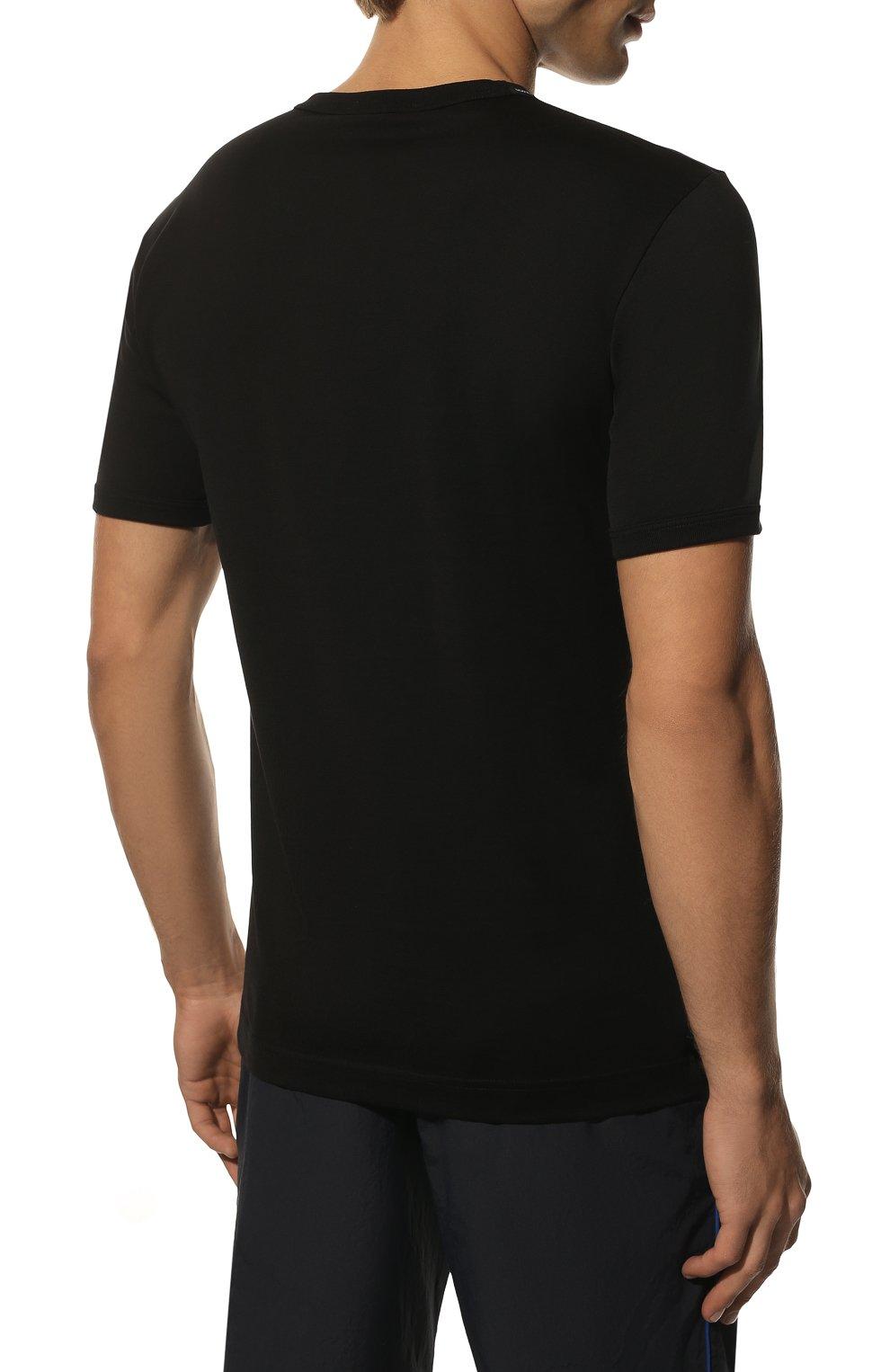 Хлопковая футболка Dolce & Gabbana черная | Фото №4