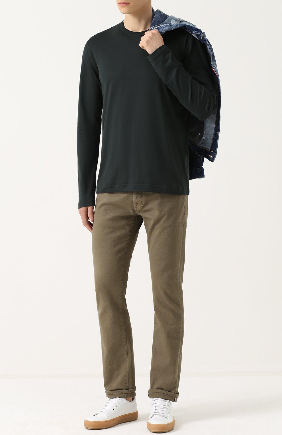 Хлопковый лонгслив с круглым вырезом Dolce & Gabbana зеленая | Фото №2