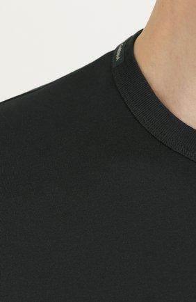 Хлопковый лонгслив с круглым вырезом Dolce & Gabbana зеленая | Фото №5