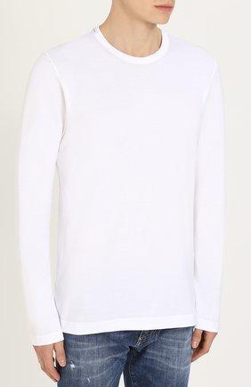Хлопковый лонгслив с круглым вырезом Dolce & Gabbana белая | Фото №3