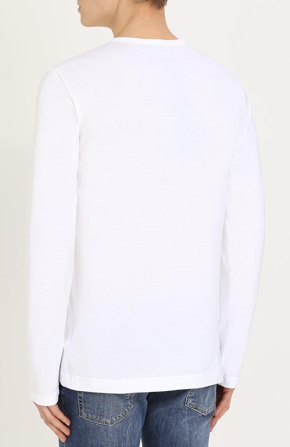 Хлопковый лонгслив с круглым вырезом Dolce & Gabbana белая | Фото №4