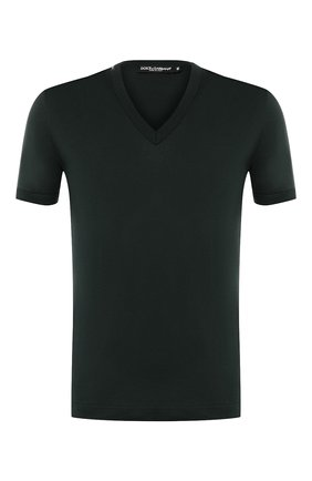 Мужская хлопковая футболка с v-образным вырезом DOLCE & GABBANA зеленого цвета, арт. 0101/G8HL7T/FU7EQ   Фото 1 (Рукава: Короткие; Материал внешний: Хлопок; Длина (для топов): Стандартные; Принт: Без принта; Стили: Кэжуэл)