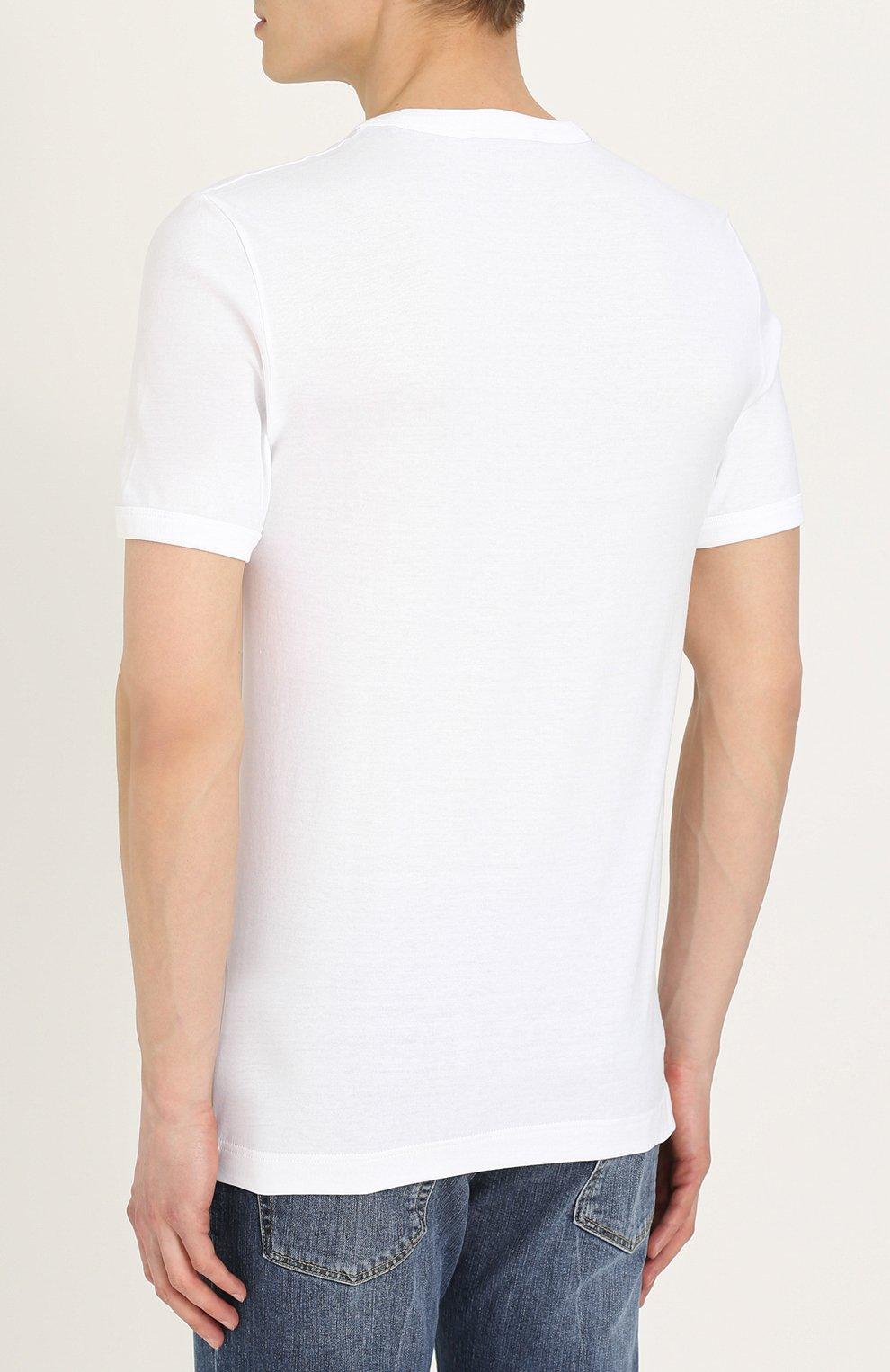 Хлопковая футболка с V-образным вырезом | Фото №4