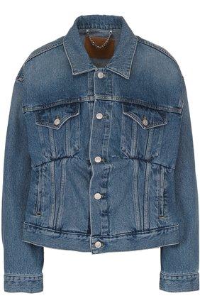 Женская джинсовая куртка свободного кроя с потертостями BALENCIAGA голубого цвета, арт. 446443/TSB06 | Фото 1