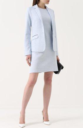 Мини-платье прямого кроя без рукавов Amina Rubinacci светло-голубое | Фото №1